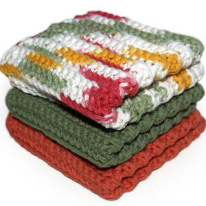 Coral & Sage Cotton Washcloths - MADE TO ORDER